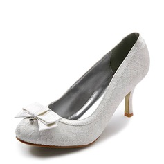 Kvinnor Spets Satin Stilettklack Stängt Toe Pumps med Fören STRASS Stitching Lace (047005034)