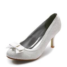 Vrouwen Kant Satijn Stiletto Heel Closed Toe Pumps met Strik Bergkristal Stitching Lace (047005034)