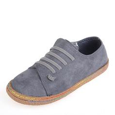 Женщины Замша Плоский каблук На плокой подошве Закрытый мыс обувь (086164479)