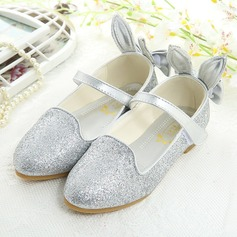 Girl's Closed Toe imitatieleer Flat Heel Flats Bloemenmeisje schoenen met strik Sprankelende Glitter Velcro (207150962)