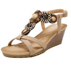 Женщины кожа Вид каблука Сандалии с развальцовка обувь (087093227)
