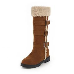 Женщины Замша Низкий каблук Закрытый мыс Ботинки Сапоги до колен Зимние сапоги с пряжка мех обувь (088185760)