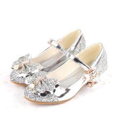 Jentas Lukket Tå Sparkling Glitter lav Heel Pumps Flower Girl Shoes med Bowknot Spenne (207136779)