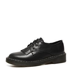 Женщины PU Плоский каблук На плокой подошве Закрытый мыс с Шнуровка кисточкой обувь (086141370)