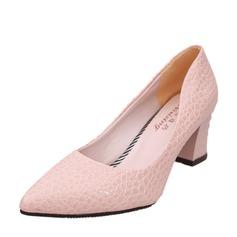 Женщины кожа Устойчивый каблук На каблуках Закрытый мыс обувь (085150507)