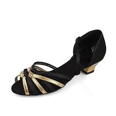 De mujer Satén Cuero Sandalias Danza latina con Tira de tobillo Zapatos de danza (053013137)