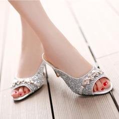 Mulheres Couro Salto agulha Bombas Sandálias Beach Wedding Shoes com Strass (047125433)