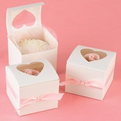 Heart Shape Laser Cut Cubic Cupcake Boxes With Ribbons (Set of 12) (050013116)