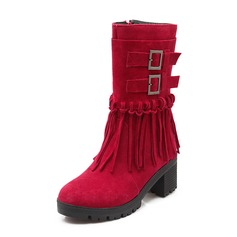 Женщины Замша Устойчивый каблук Сапоги до середины голени с кисточка обувь (088076595)
