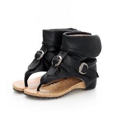 кожа Плоский каблук Сандалии с пряжка обувь (087062827)