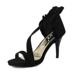 Mulheres Camurça Salto agulha Sandálias Bombas Peep toe com Pregueado sapatos (085167128)