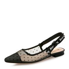 Женщины сетка Плоский каблук Сандалии На плокой подошве Закрытый мыс с Другие обувь (087131787)