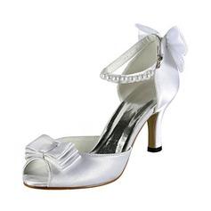 Naisten Satiini Piikkikorko Peep Toe Sandaalit jossa Rusettisolmu Tekohelmi (047020130)