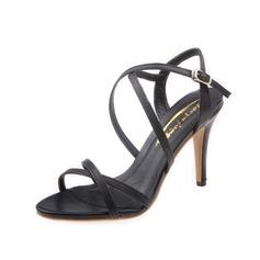 Женщины кожа Высокий тонкий каблук Сандалии Босоножки с пряжка обувь (087050193)