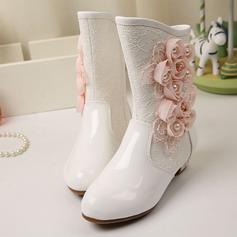 девичий Закрытый мыс дерматин низкий каблук На плокой подошве Ботинки Обувь для девочек с развальцовка Цветок Аппликация (207139811)
