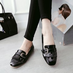 Women's PU Flat Heel Flats Closed Toe With Buckle shoes (086145712)