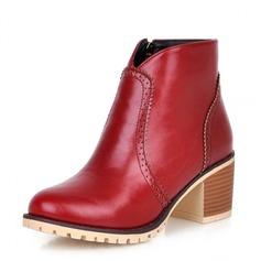 Женщины кожа Устойчивый каблук На каблуках Закрытый мыс Танкетка Ботинки Полусапоги обувь (088100597)