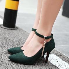 Женщины Замша Высокий тонкий каблук На каблуках с пряжка кисточкой обувь (085114538)