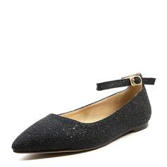 Женщины PVC Плоский каблук На плокой подошве Закрытый мыс с пряжка Шнуровка обувь (086153759)