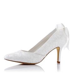 Женщины Кружева шелка как атласное Высокий тонкий каблук На каблуках с Шнуровка (047117236)