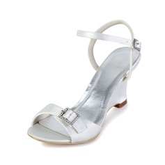 Women's Satin Wedge Heel Peep Toe Sandals Slingbacks With Buckle Rhinestone (047033126)