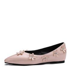 Женщины кожа Плоский каблук На плокой подошве Закрытый мыс с Цветок обувь (086153093)