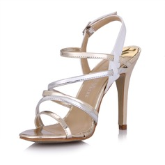 Patent Leather Stiletto Heel Sandals Slingbacks With Buckle shoes (087025076)