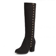Женщины кожа Устойчивый каблук На каблуках Платформа Закрытый мыс Ботинки Сапоги до колен обувь (088100688)
