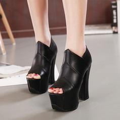 Женщины PU Устойчивый каблук На каблуках Платформа Открытый мыс с Застежка-молния обувь (087134532)
