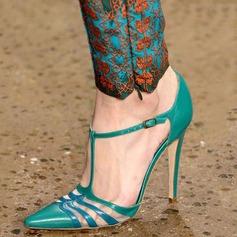 Женщины кожа Высокий тонкий каблук Сандалии Закрытый мыс с пряжка обувь (087124923)