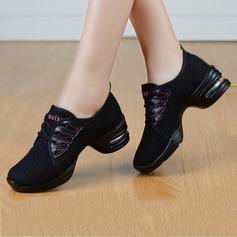 Женщины ткань Танцевальные кроссовки Танцевальные кроссовки с Шнуровка Обувь для танцев (053106474)