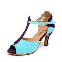 Женщины Замша На каблуках Сандалии Латино с Т-ремешок пряжка Обувь для танцев (053070320)