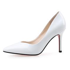 Женщины Лакированная кожа Высокий тонкий каблук На каблуках Закрытый мыс обувь (085090439)