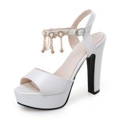 Женщины PU Высокий тонкий каблук Сандалии На каблуках Платформа с Имитация Перл кисточкой обувь (087155472)