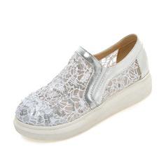 Vrouwen Kunstleer Kant Flat Heel Flats Closed Toe schoenen (086089830)