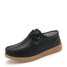 Женщины PU Плоский каблук На плокой подошве Закрытый мыс с Шнуровка обувь (086149312)