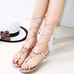 Mulheres Couro verdadeiro Sem salto Sem salto Sandálias Beach Wedding Shoes com Strass (047125434)