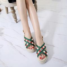 Женщины кожа Вид каблука Сандалии Платформа Открытый мыс Босоножки с Имитация Перл Плетеный ремень обувь (087124970)
