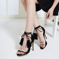Женщины Замша Высокий тонкий каблук Сандалии с Имитация Перл Лента кисточкой обувь (087119972)