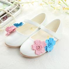 Girl's Closed Toe imitatieleer Flat Heel Flats Bloemenmeisje schoenen met Velcro Bloem (207150961)