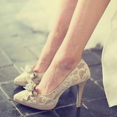 Женщины Кружева Натуральня кожа Высокий тонкий каблук Закрытый мыс Платформа Beach Wedding Shoes с горный хрусталь Лента (047126530)