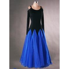 Женщины Одежда для танцев Спандекс Органза Латино Платья (115091486)
