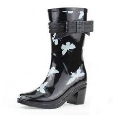 Caucho Tacón ancho Botas longitud media Botas de lluvia con Del bowknot zapatos (088041965)