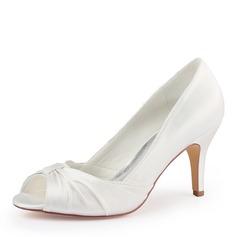 Women's Silk Like Satin Stiletto Heel Peep Toe Pumps With Ruffles (047182284)