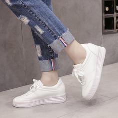 Женщины PU Вид каблука Платформа Танкетка с Шнуровка обувь (086138416)