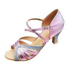 Женщины кожа Мерцающая отделка На каблуках Сандалии Латино с Ремешок на щиколотке Обувь для танцев (053013183)