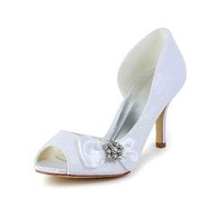 Vrouwen Satijn Stiletto Heel Peep Toe Pumps met Strik Strass (047005038)