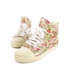 Женщины PVC Плоский каблук Ботинки Полусапоги Резиновые сапоги с Шнуровка обувь (088127045)