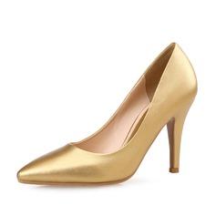 Женщины кожа Высокий тонкий каблук На каблуках Закрытый мыс обувь (085085032)