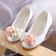 A menina de Toe rodada Fechados renda Heel plana Sem salto Sapatas do florista com Beading Flor (207127645)